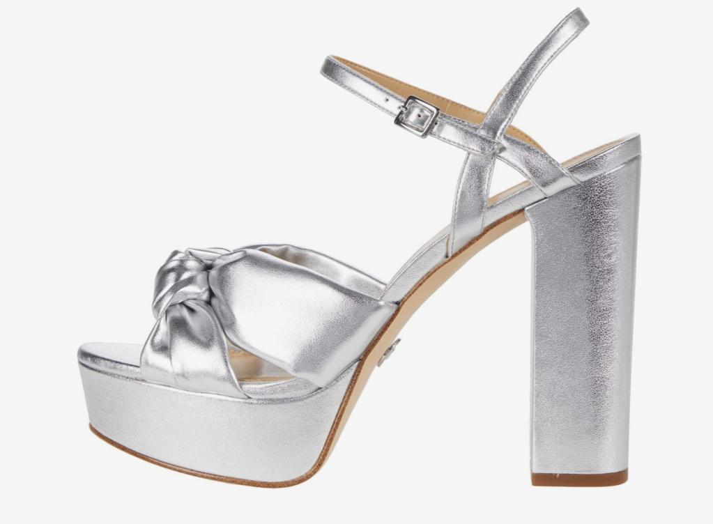 silver heels, platforms, michael kors