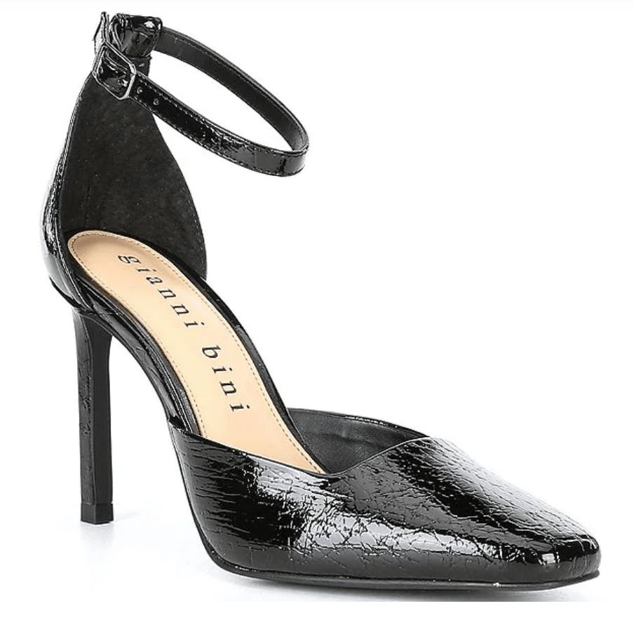 black pumps, square toe, gianni bini