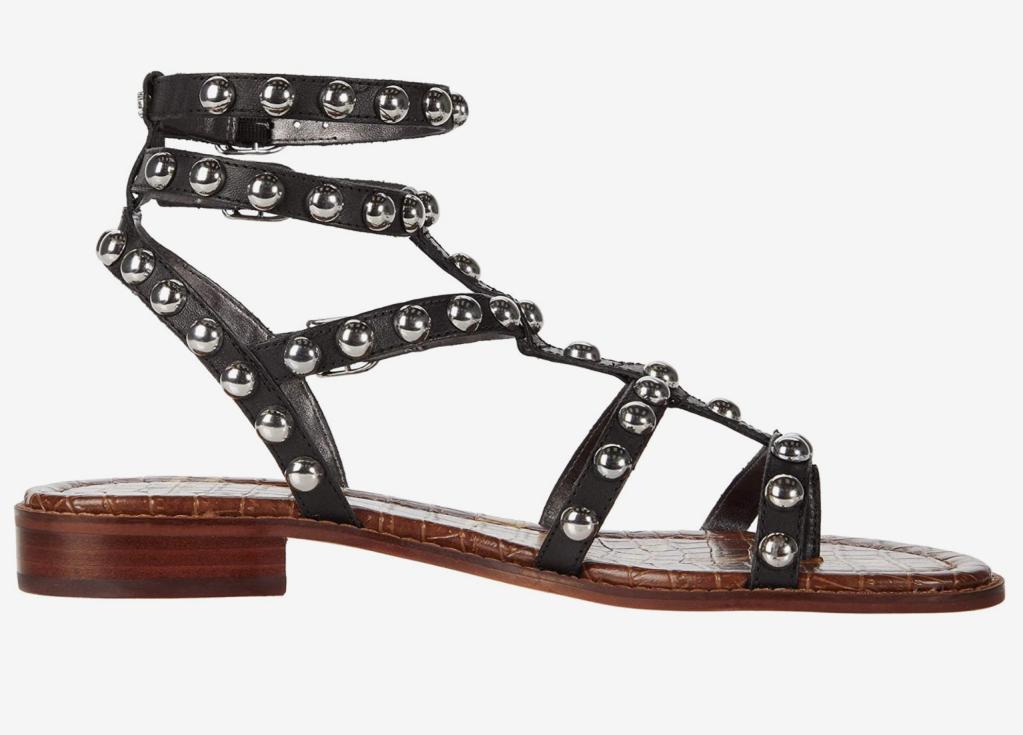 black sandals, gladiator, gold, sam edelman