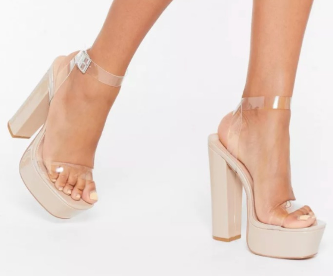 NastyGal Clear Ankle Strap Faux Leather Platform Heels