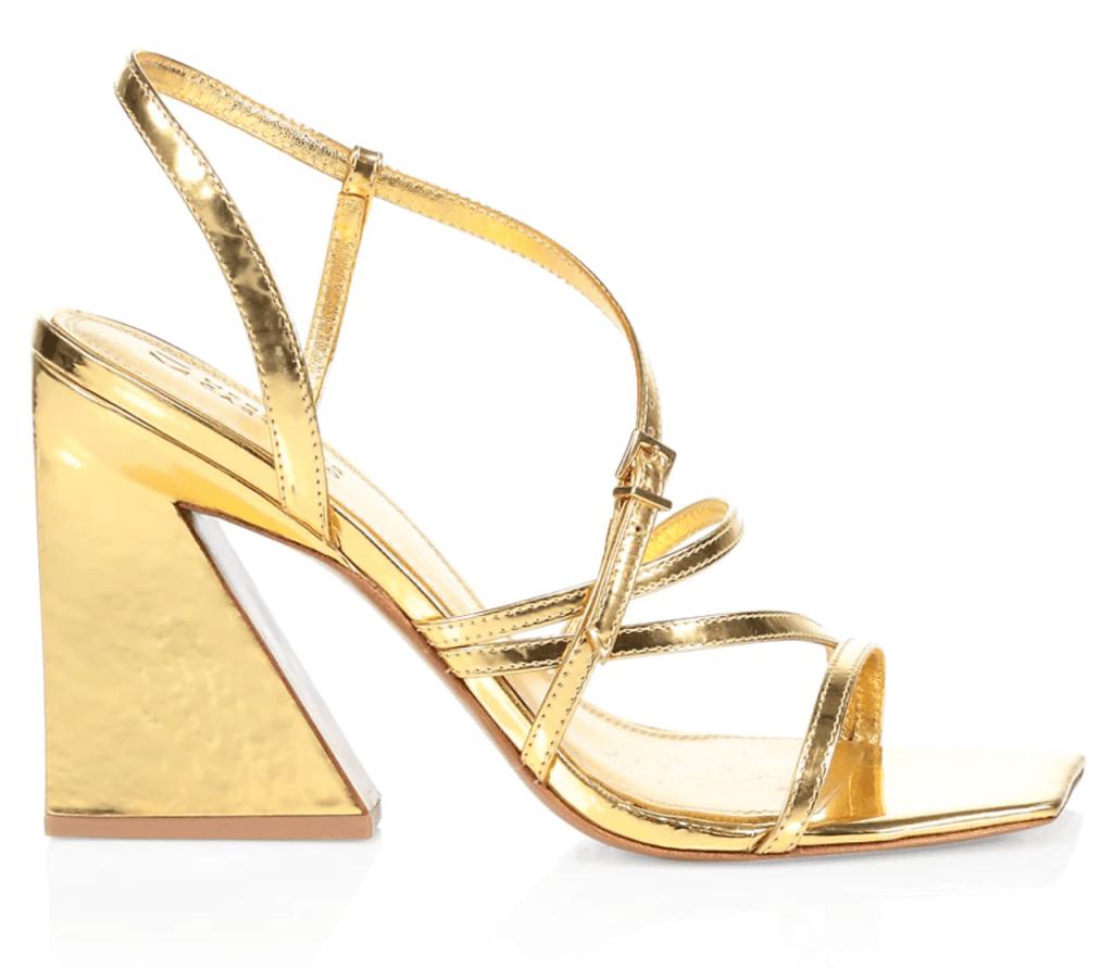 Mercedes Castillo, gold sandals