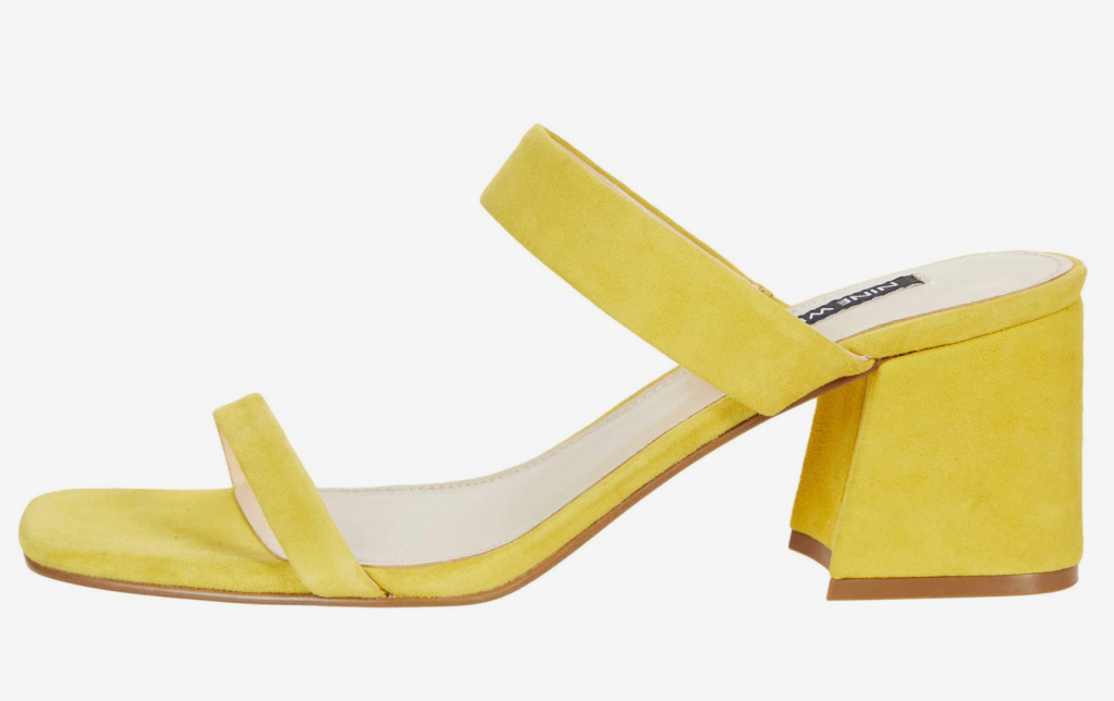 Nine West, mules, yellow mules