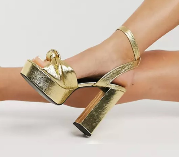 Asos Neptune platform high-heeled sandals in gold mirror