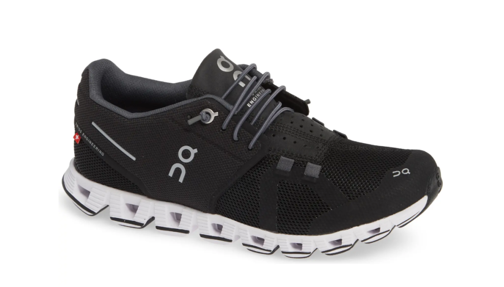 black sneakers, running, white outsole, on cloud