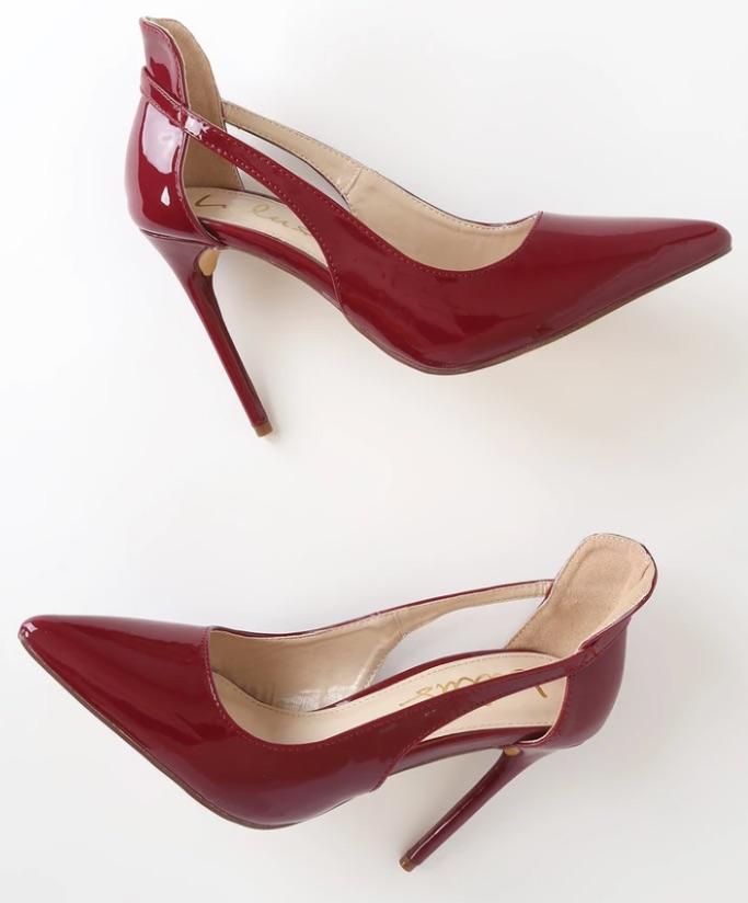 Lulu's Vanna Oxblood Patent Pointed-Toe Pumps