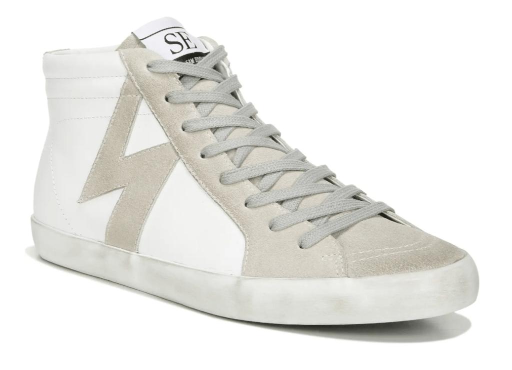 gray sneakers, white, sam edelman