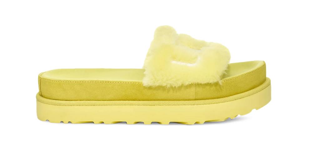 yellow slides, fuzzy, uugg
