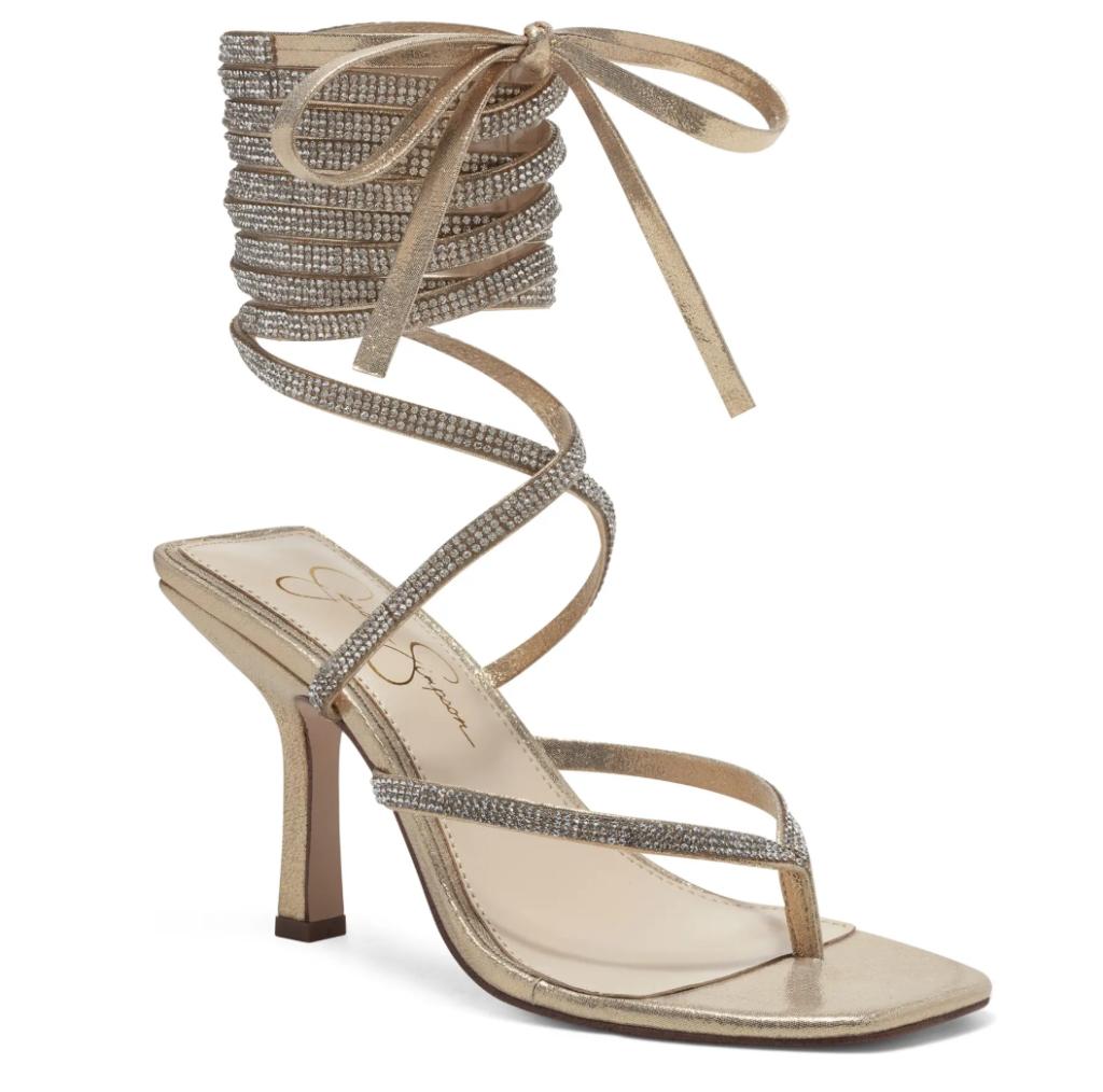 golden sandals, wrap, heels, jessica simpson