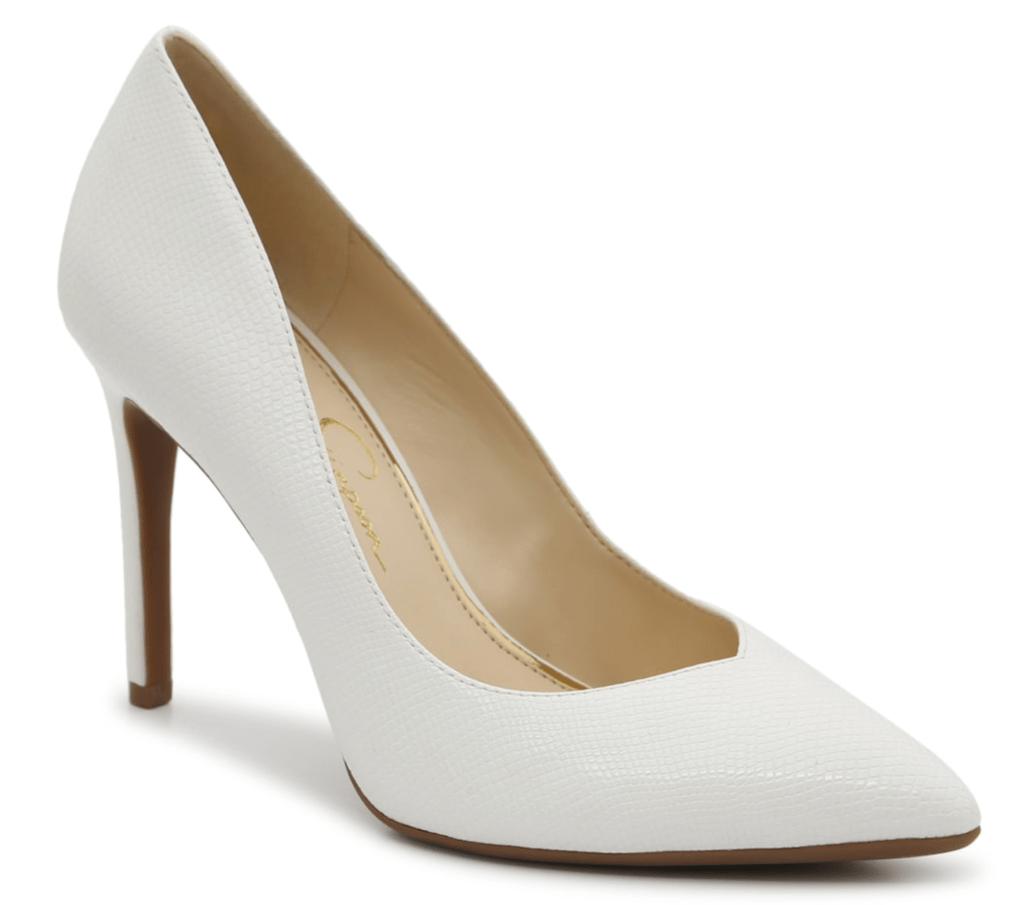 Jessica Simpson, pointed-toe pumps, white pumps