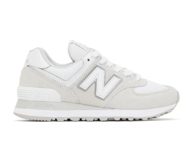 New Balance White & Grey 574 Sneakers