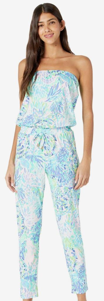 Lilly Pulitzer, jumpsuit, blue jumpsuit, floral jumpsuit