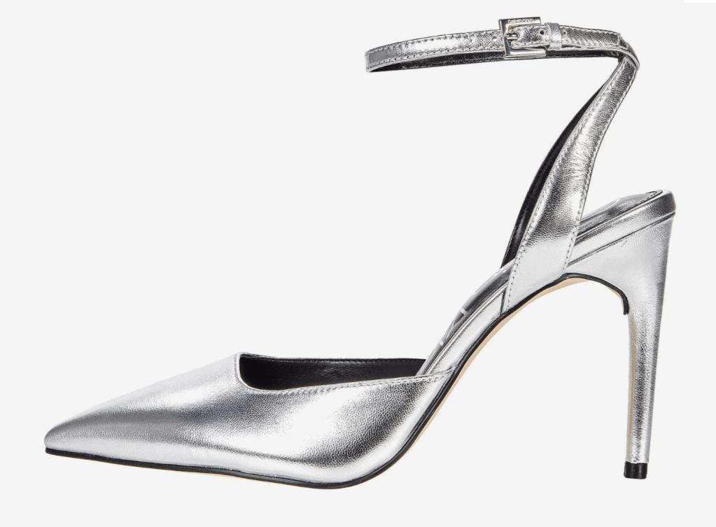 silver heels, pumps, calvin klein