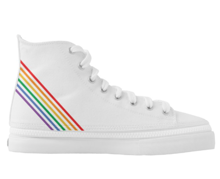 LGBT Rainbow Striped Personalized Sneakers