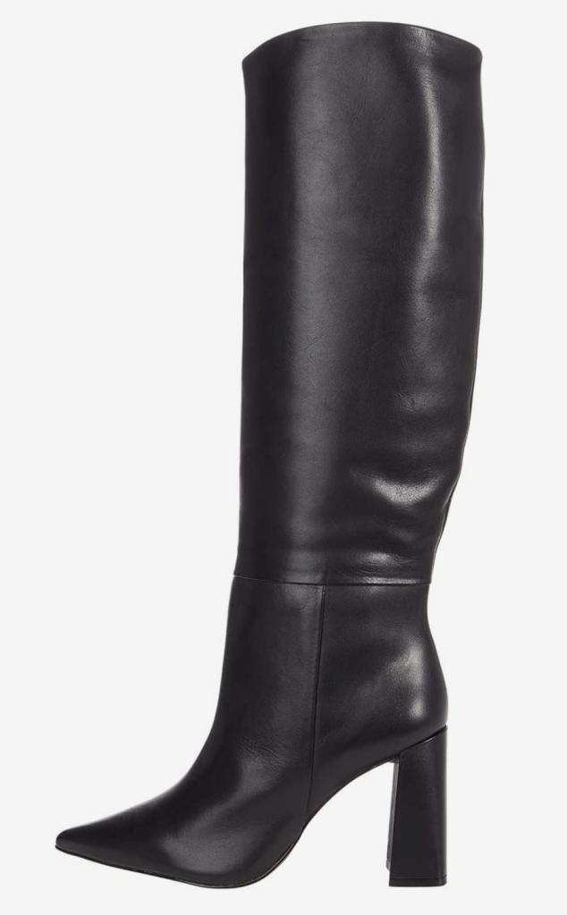 Steve Madden, knee-high boots, black leather boots, block-heel boots