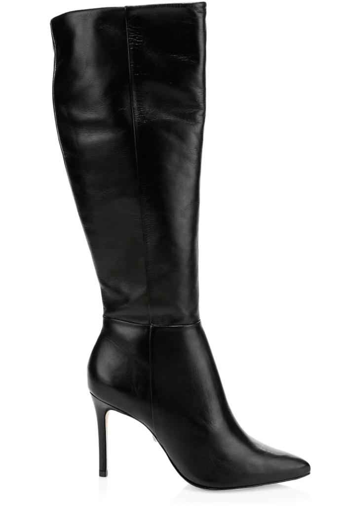 Schutz, knee-high boots, black leather boots, block-heel boots