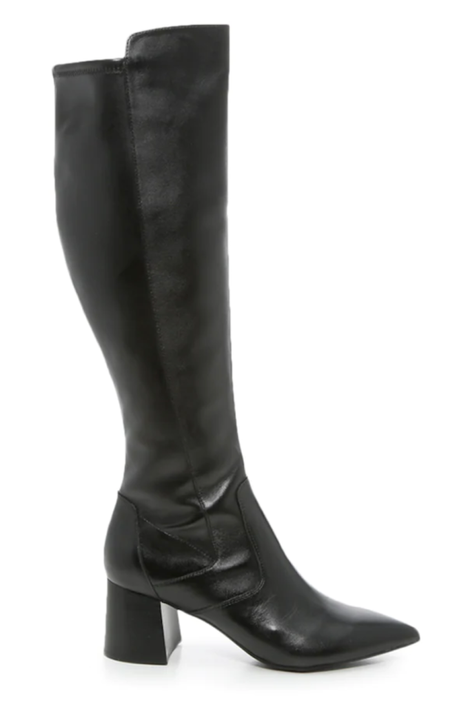 Marc Fisher, knee-high boots, black leather boots, block-heel boots