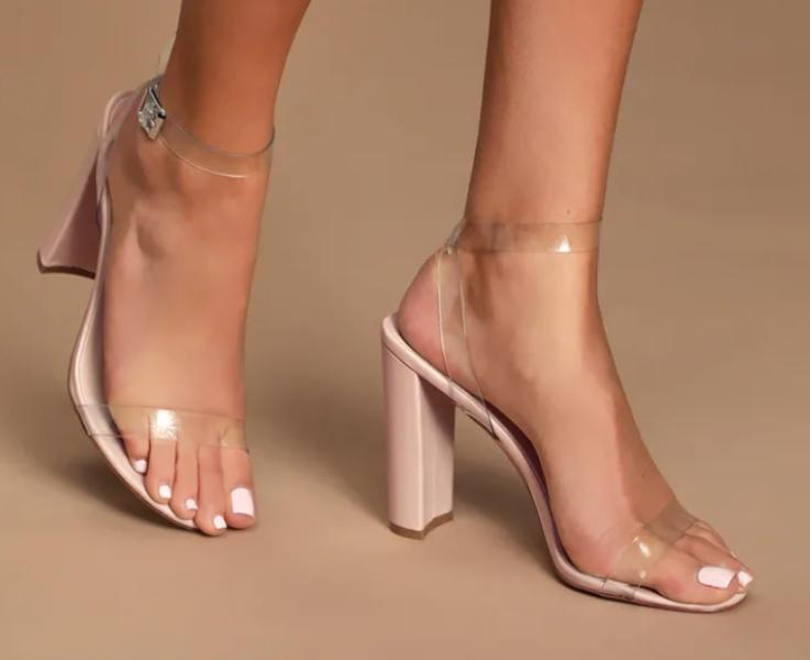 Jac Clear PVC Ankle Strap Heels