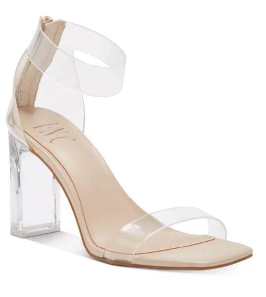 INC International Concepts Women's Makenna Two-Piece Clear Vinyl Dress Sandals, Created for Macy's