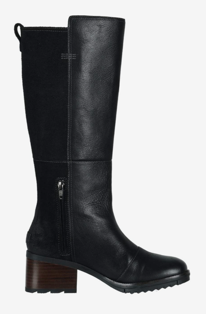 Sorel, black boots, leather boots, knee-high boots