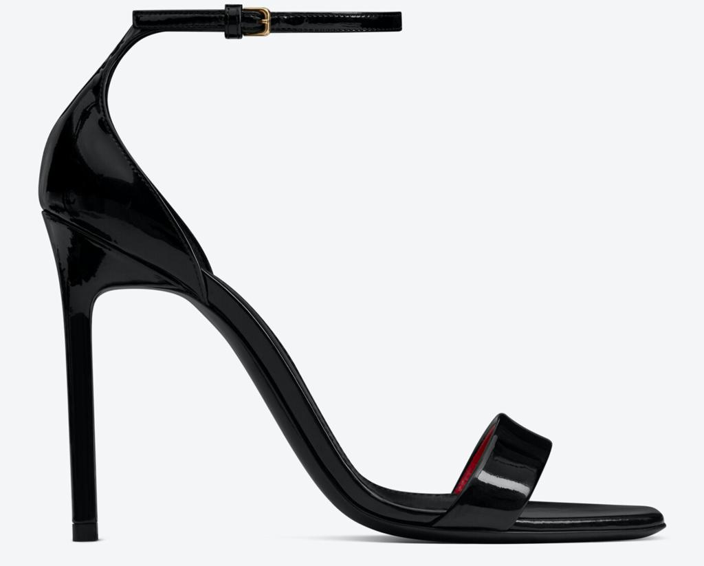 Saint Laurent, sandals, black sandals, heeled sandals, ankle-strap sandals