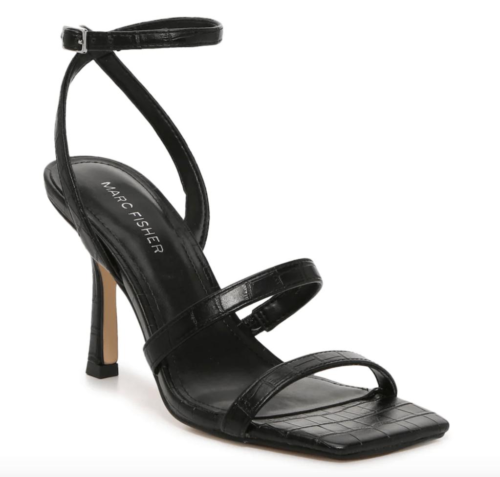 Marc Fisher, sandals, black sandals, heeled sandals, ankle-strap sandals