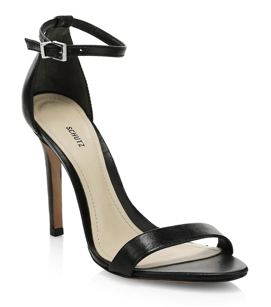Schutz, sandals, black sandals, heeled sandals, ankle-strap sandals