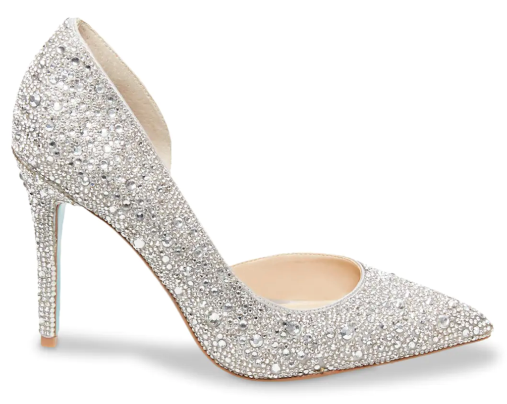 Betsey Johnson, pumps, pointed-toe pumps, crystal pumps, sparkly pumps