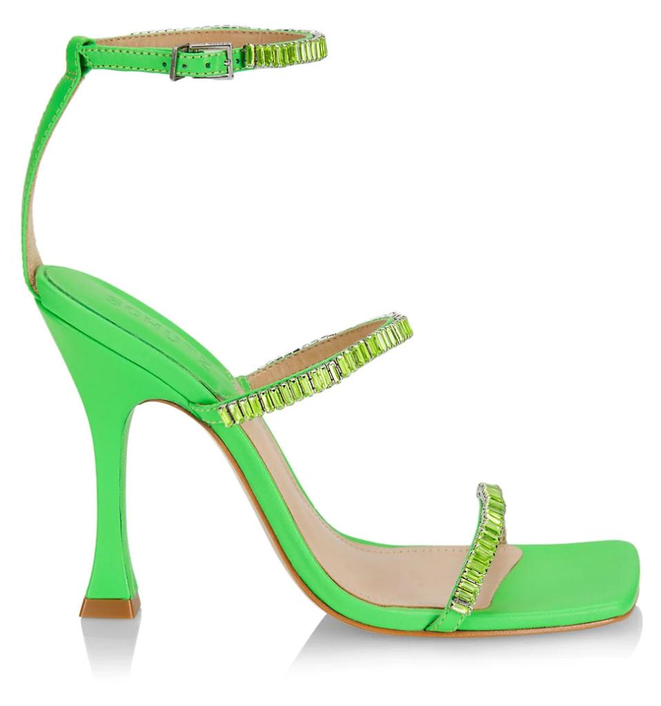 Schutz, sandals, green sandals, crystal sandals, sparkly sandals