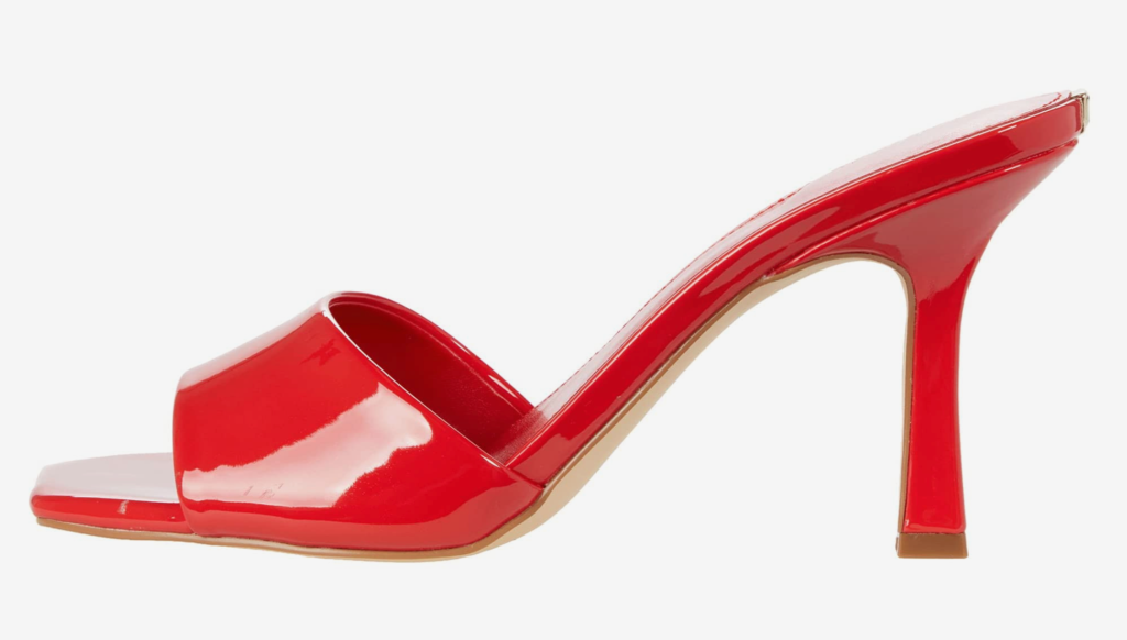 Guess, mules, red mules, heeled mules