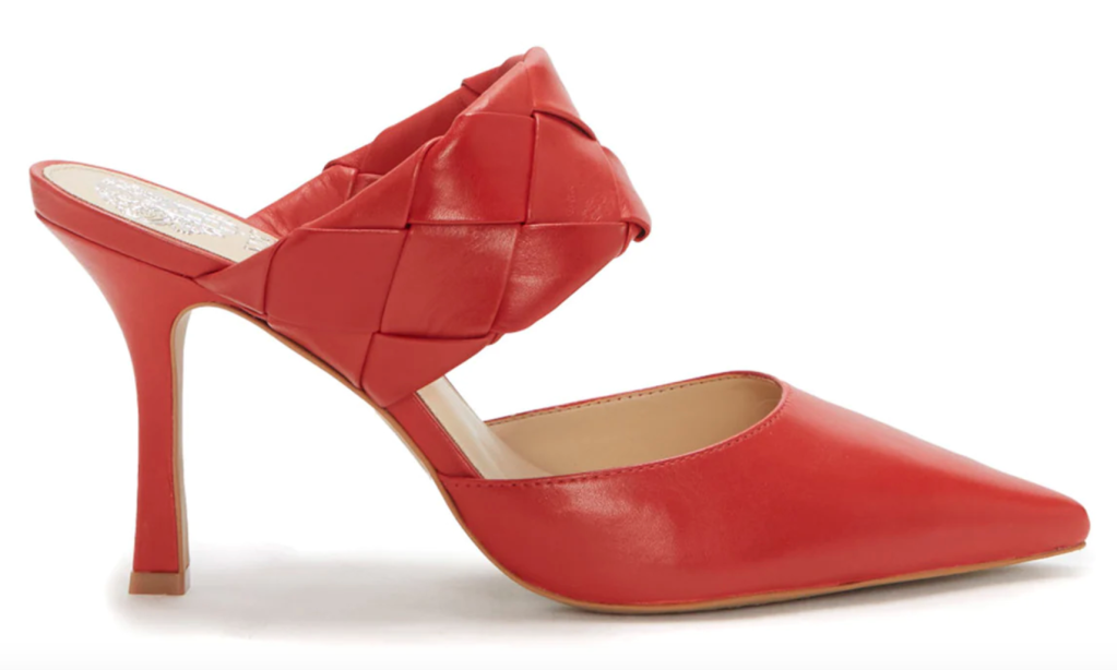 Vince Camuto, mules, red mules, heeled mules, pointed-toe mules