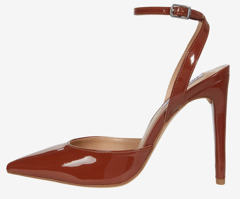 Steve Madden, brown pumps, pointed-toe pumps, ankle-strap pumps, aced