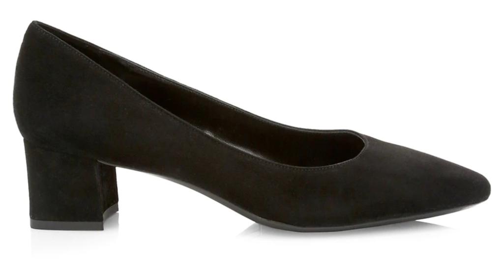 Aquatalia, suede pumps, pointed-toe pumps, block heel pumps, black pumps