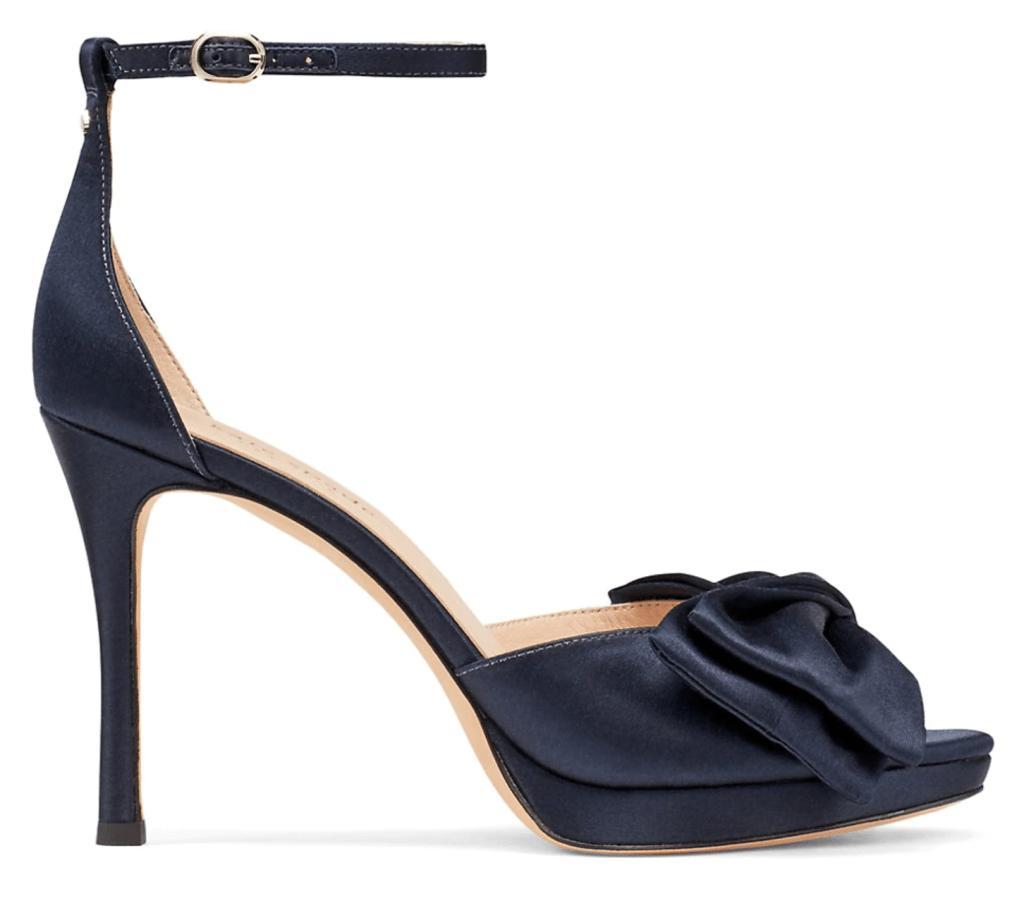 Kate Spade New York, blue heels, blue sandals, platform sandals, satin sandals