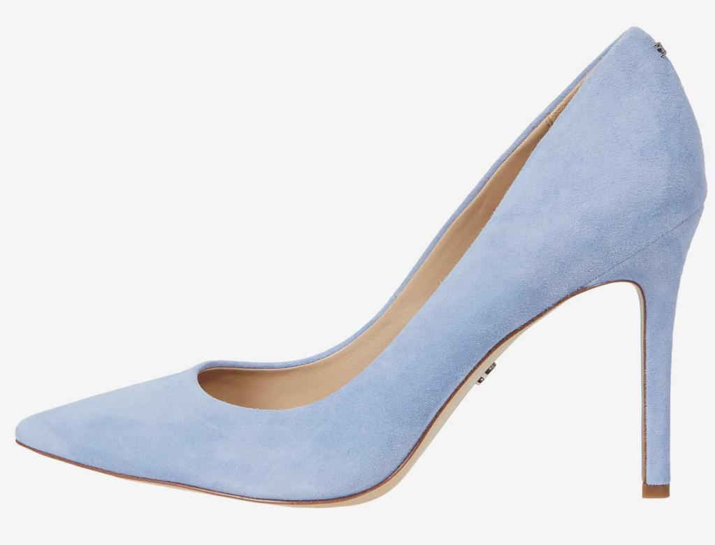 Sam Edelman, blue pumps, pointed-toe pumps, suede pumps