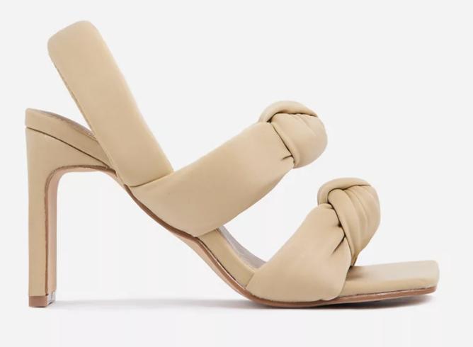 puffy sandals, heels, tan, asos
