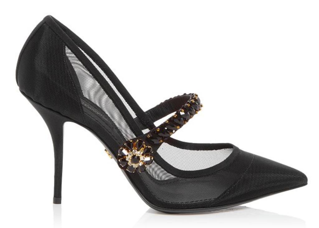 Dolce and Gabbana, black pumps, pointed-toe pumps, mesh pumps