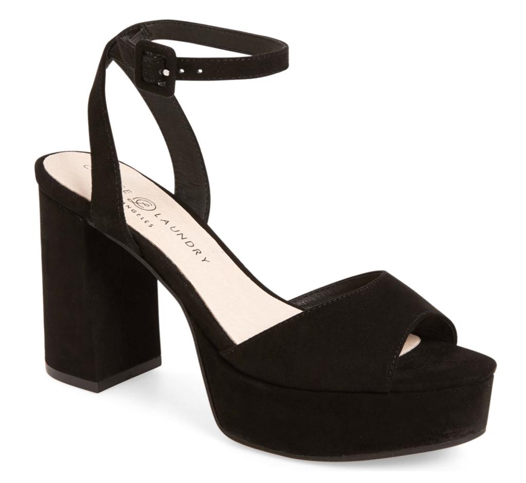 Chinese Laundry, platform sandals, velvet sandals, black sandals, ankle-strap sandals