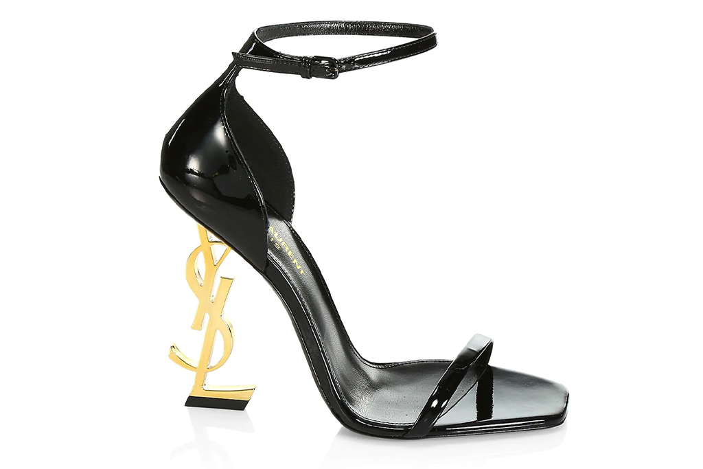 Saint Laurent Opyum Patent Leather Sandals, YSL heel