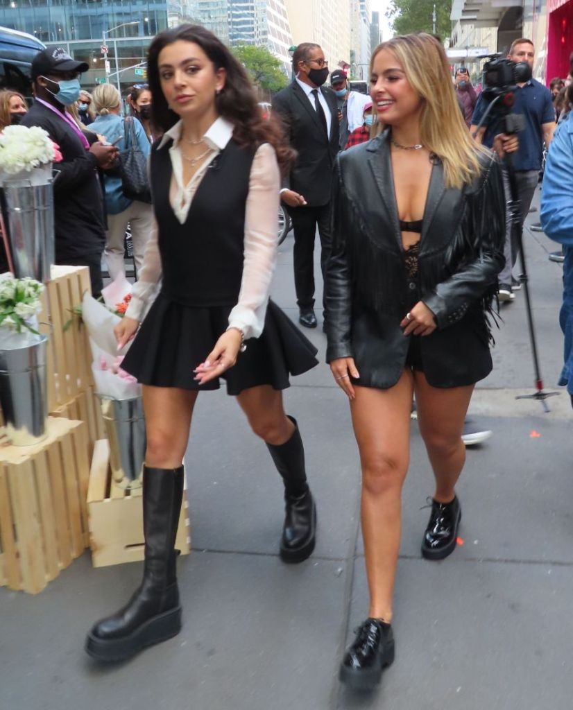 addison rae, bodysuit, shorts, jean shorts, leather jacket, bralette, brogues, shoes, chunky oxfords, new york, pandora