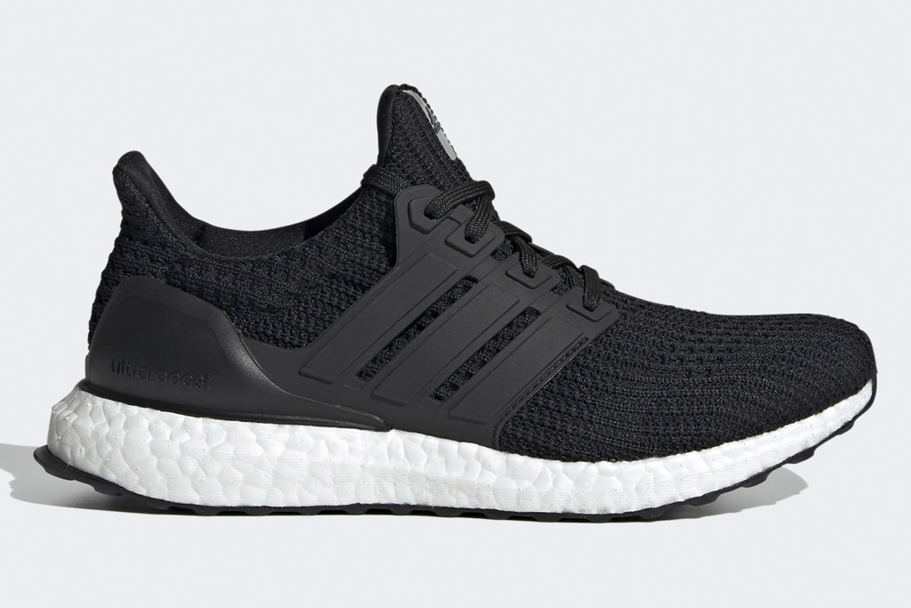 black sneakers, running, white outsole, adidas