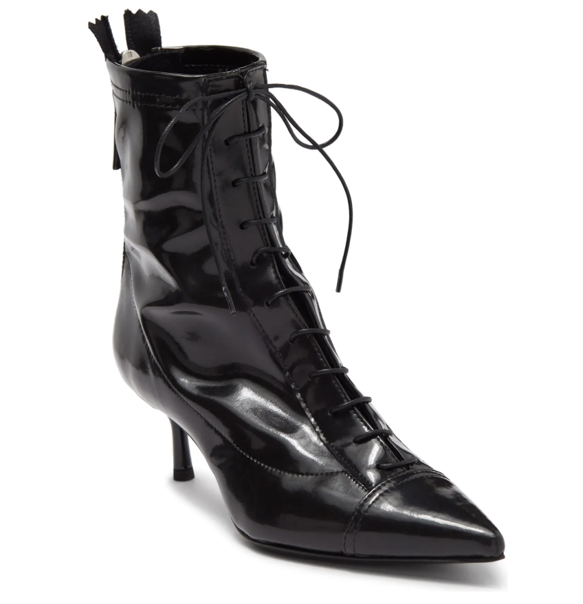 black booties, lace-up,agl