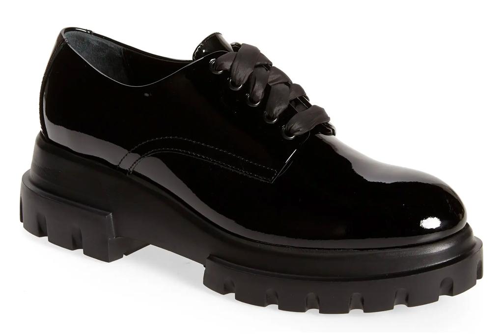 black brogues, platform shoes, leather, agl