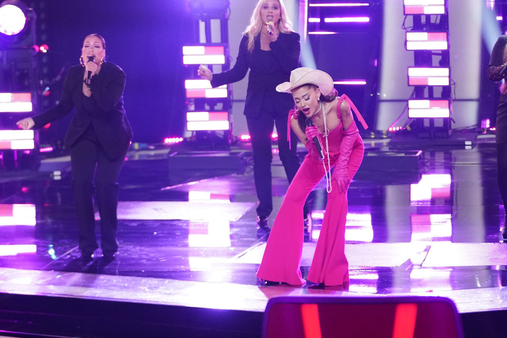 ariana grande, hot pink, bustier, pants, cowgirl hat, pearls, gloves, the voice, blind auditions