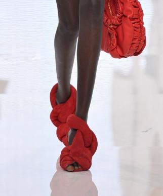 balmain, sandals, red, spring 2022 runway, paris fashion week