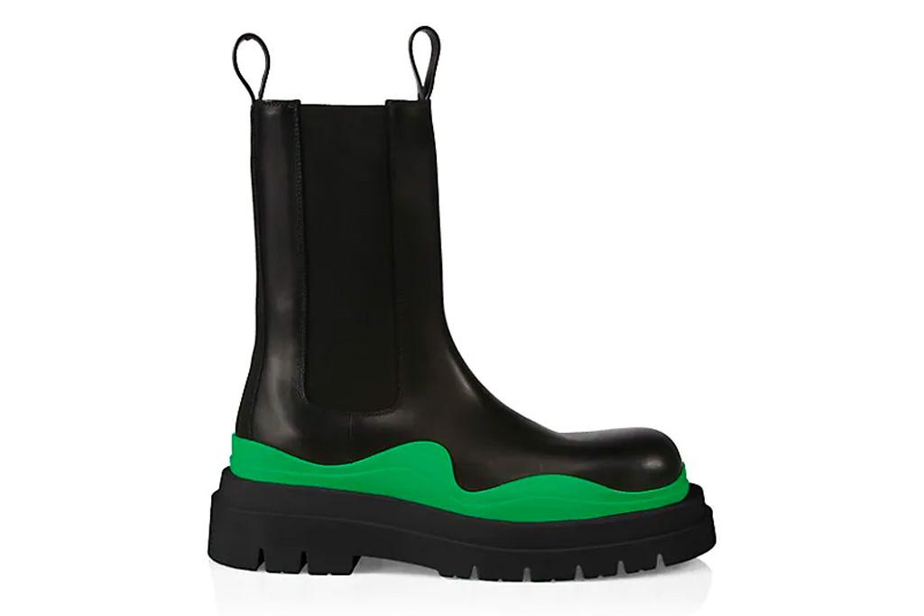 black boots, chelsea, lug sole, green, bottega veneta