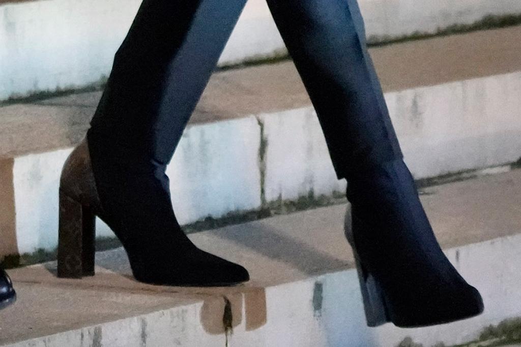 brigitte macron, blue coat, white blouse, trousers, pants, boots, booties, louis vuitton, paris, louvre, museum, greek prime ministerbrigitte macron, blue coat, white blouse, trousers, pants, boots, booties, louis vuitton, paris, louvre, museum, greek prime minister