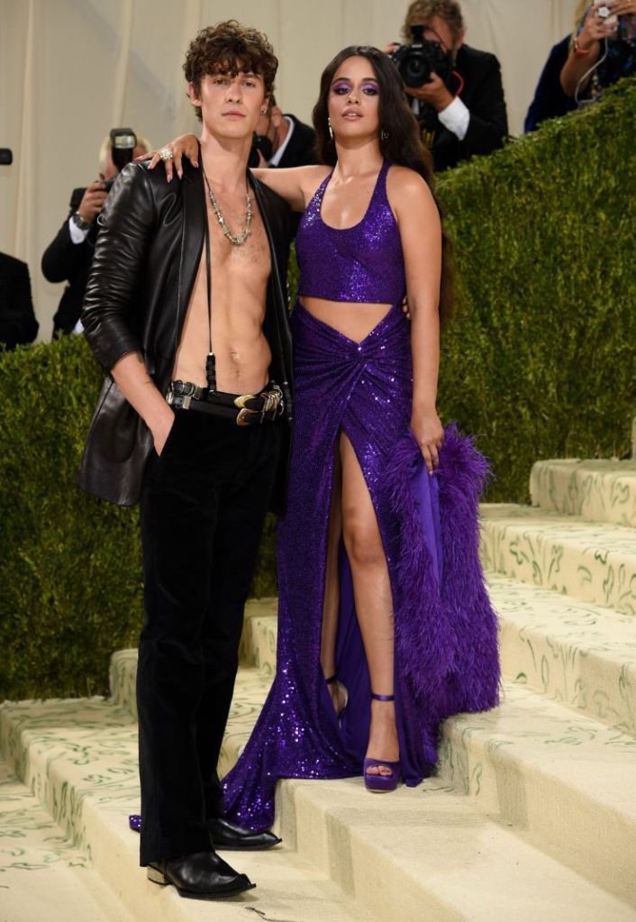 camila cabello, skirt, crop top, purple heels, shawn mendes, shirtless, blazer, pants, boots, met gala, 2021, michael kors