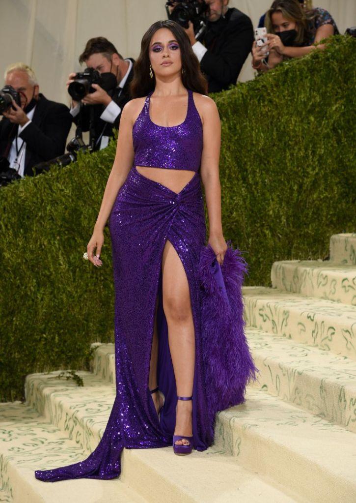 met gala, 2021, red carpet, celebrity style, camila cabello, skirt, crop top