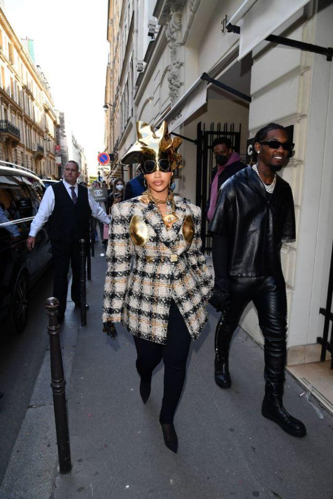 cardi b, blazer, gold, schiapparelli, gold bralette, hat, helmet, leggings, tights, sheer heels, mesh boots, louboutin, paris, paris fashion week, offset