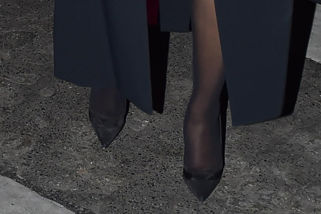 cardi b, coat, bodysuit, tights, sheer tights, stockings, heels, pumps, hat, sunglasses, earrings, offset, paris, paris fashion week, france